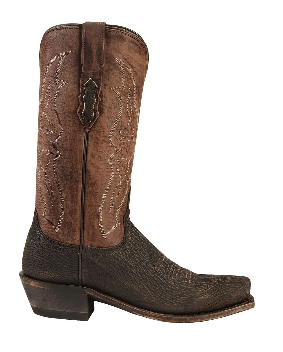 Lucchese Handmade 1883 Carl Sanded Shark Cowboy Boots - Snip Toe, Chocolate, hi-res