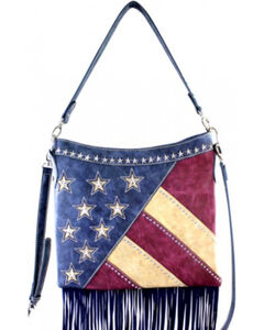 Montana West America Pride Fringe Hobo/Crossbody Bag, Navy, hi-res