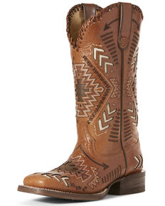 Ariat Women's Gitana Aztec Western Boots - Wide Square Toe, Brown, hi-res