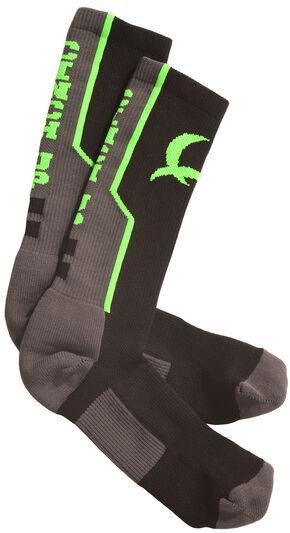 Cinch Men's Grey and Neon Green Boot Socks , Black, hi-res