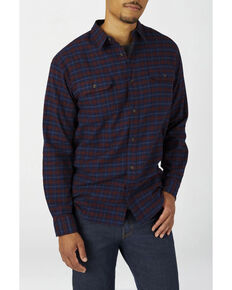 Dickies Men's Ink Navy Plaid Relaxed Flex Flannel Work Shirt , Navy, hi-res