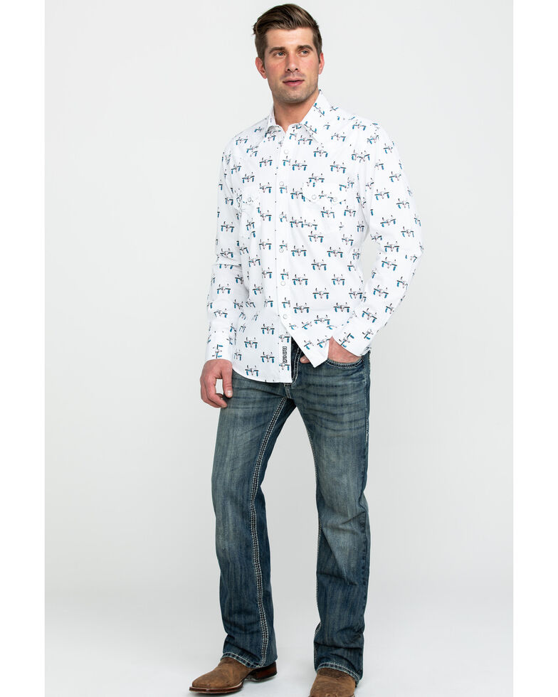 Rock & Roll Denim Men's Bull Skull Print Long Sleeve Western Shirt , Charcoal, hi-res