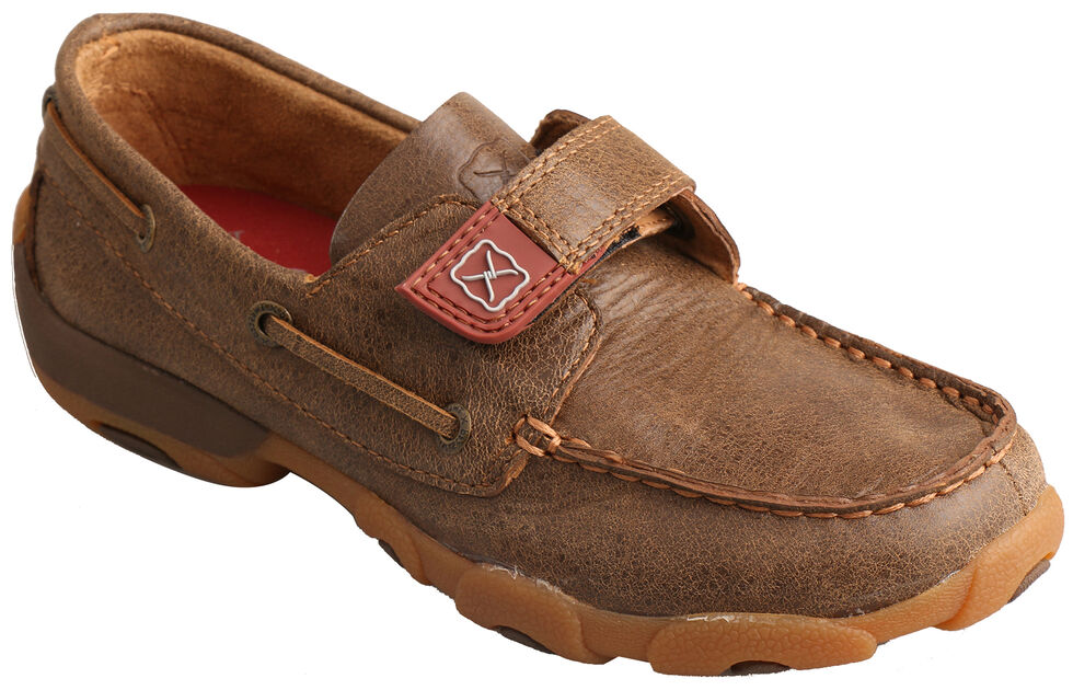 Twisted X Boys' Cowkid's Driving Moc Casual Shoes - Moc Toe, Brown, hi-res