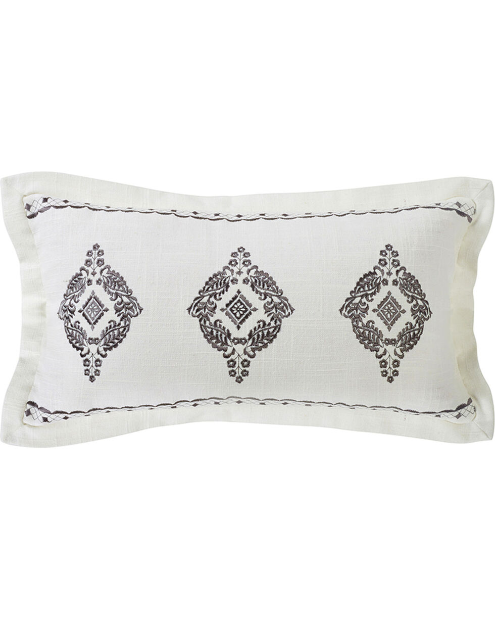 HiEnd Accents Cream Charlotte Oblong Grey Embroidered Lace Design Pillow, Cream, hi-res