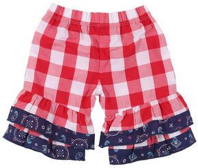 Wrangler Infant/Toddler Girls' Red Check Elastic Waist Pants, Red, hi-res