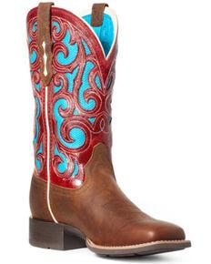 Ariat Women's Karma VentTEK Western Boots - Square Toe, Brown, hi-res