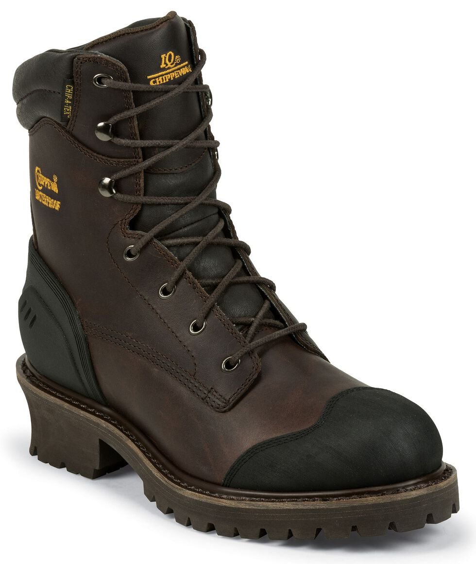 "Chippewa Waterproof & Insulated 8"" Lace-Up Logger Boots - Composite Toe, Chocolate, hi-res"