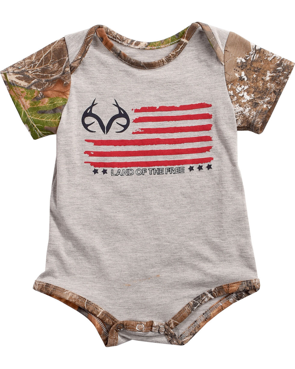 Realtree Infants' Land of the Free Onesie, Grey, hi-res