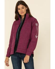Cowgirl Hardware Women's Berry Tech Woodsman Arrow Jacket, Pink, hi-res