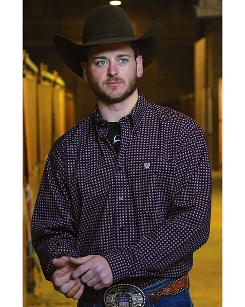 Cinch Men's Navy Button Down Western Shirt , Navy, hi-res