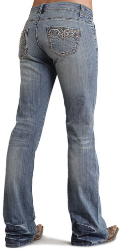 Stetson Women's 816 Classic Fit Distressed Embellished Bootcut Jeans, Denim, hi-res