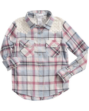 Shyanne Girls' Plaid Flannel Tunic, Ivory, hi-res