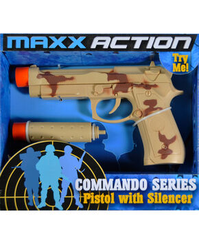 Maxx Action 9mm Pistol With Silencer, Camouflage, hi-res