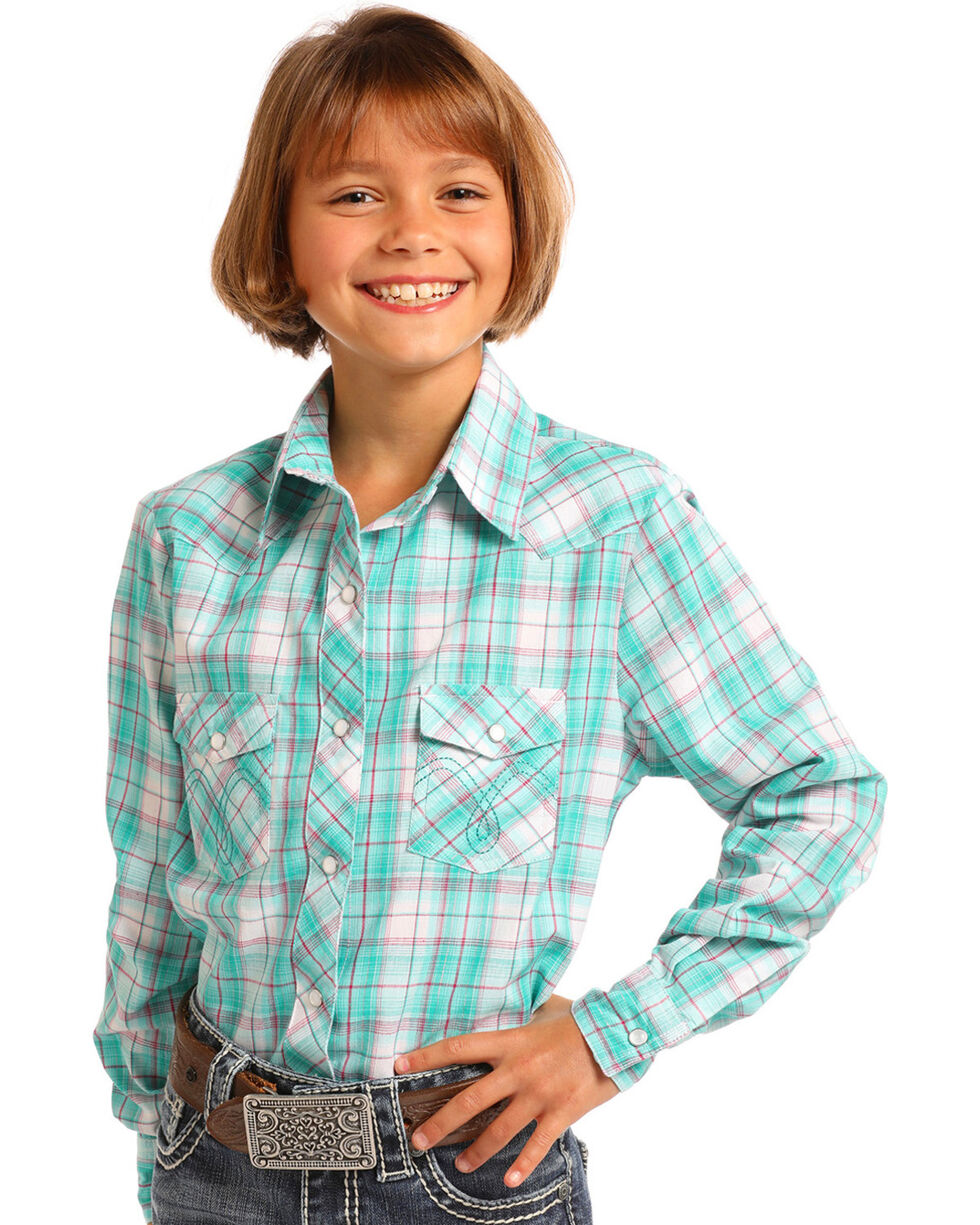 Panhandle Girls' Green Plaid Long Sleeve Snap Shirt, , hi-res
