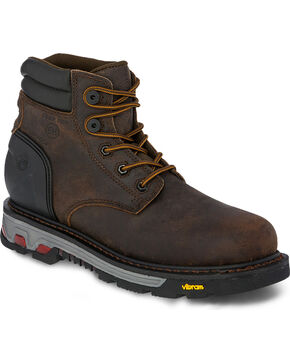 Justin Men's 6 Inch Lace Up Commander X5 Work Boots - Composite Round Toe, Brown, hi-res