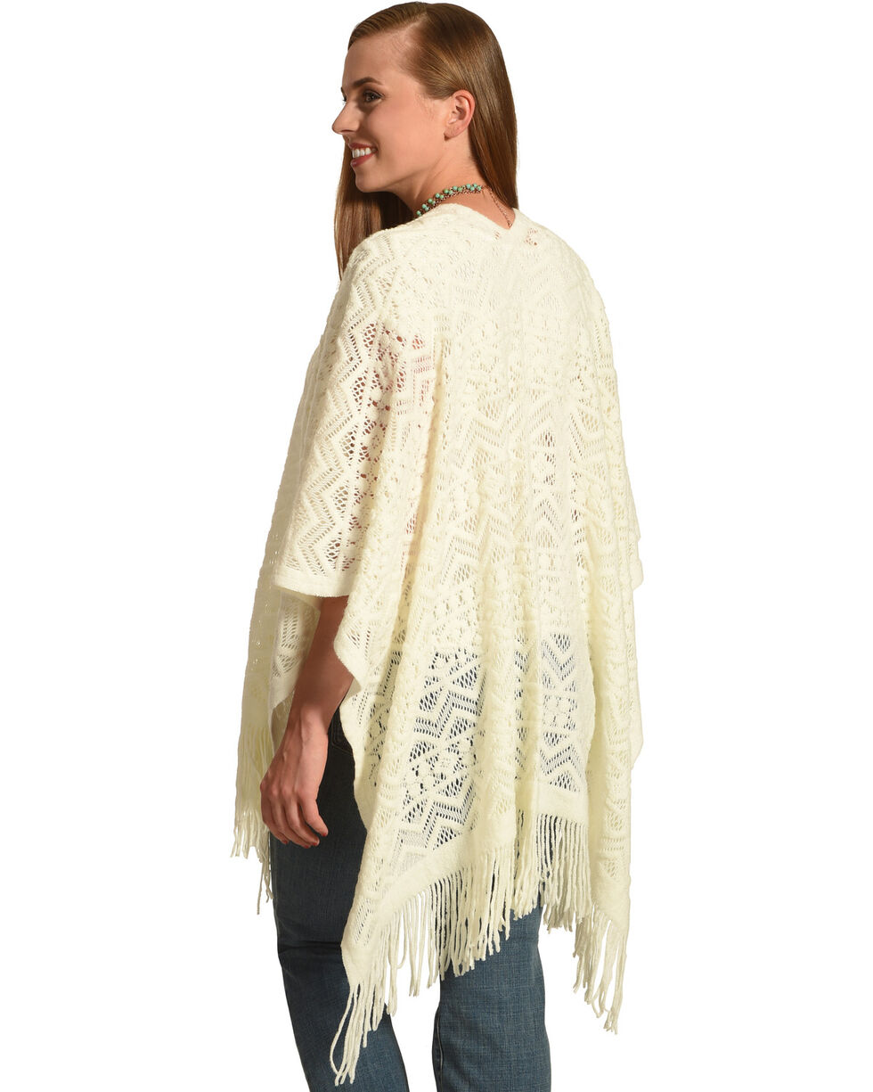 Shyanne Women's Crochet Knit Blanket Scarf , Cream, hi-res