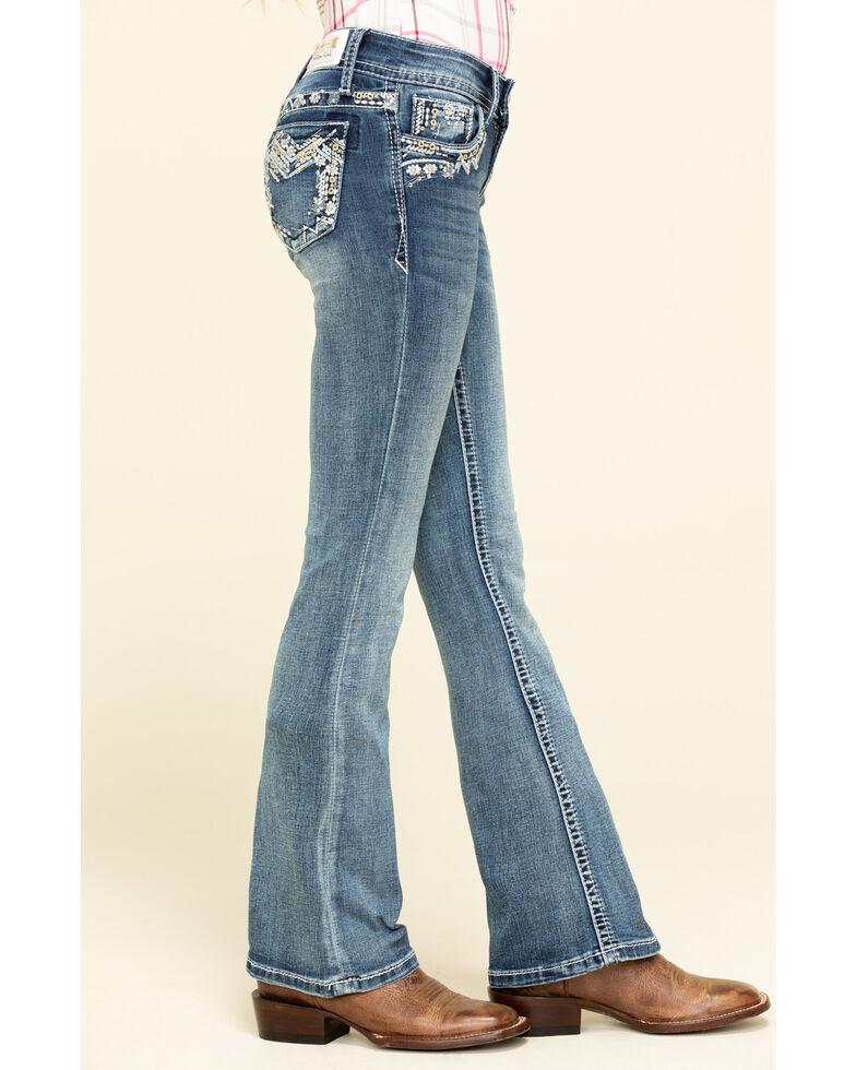 Grace in LA Girls' Light Wash Aztec Bootcut Jeans, Blue, hi-res