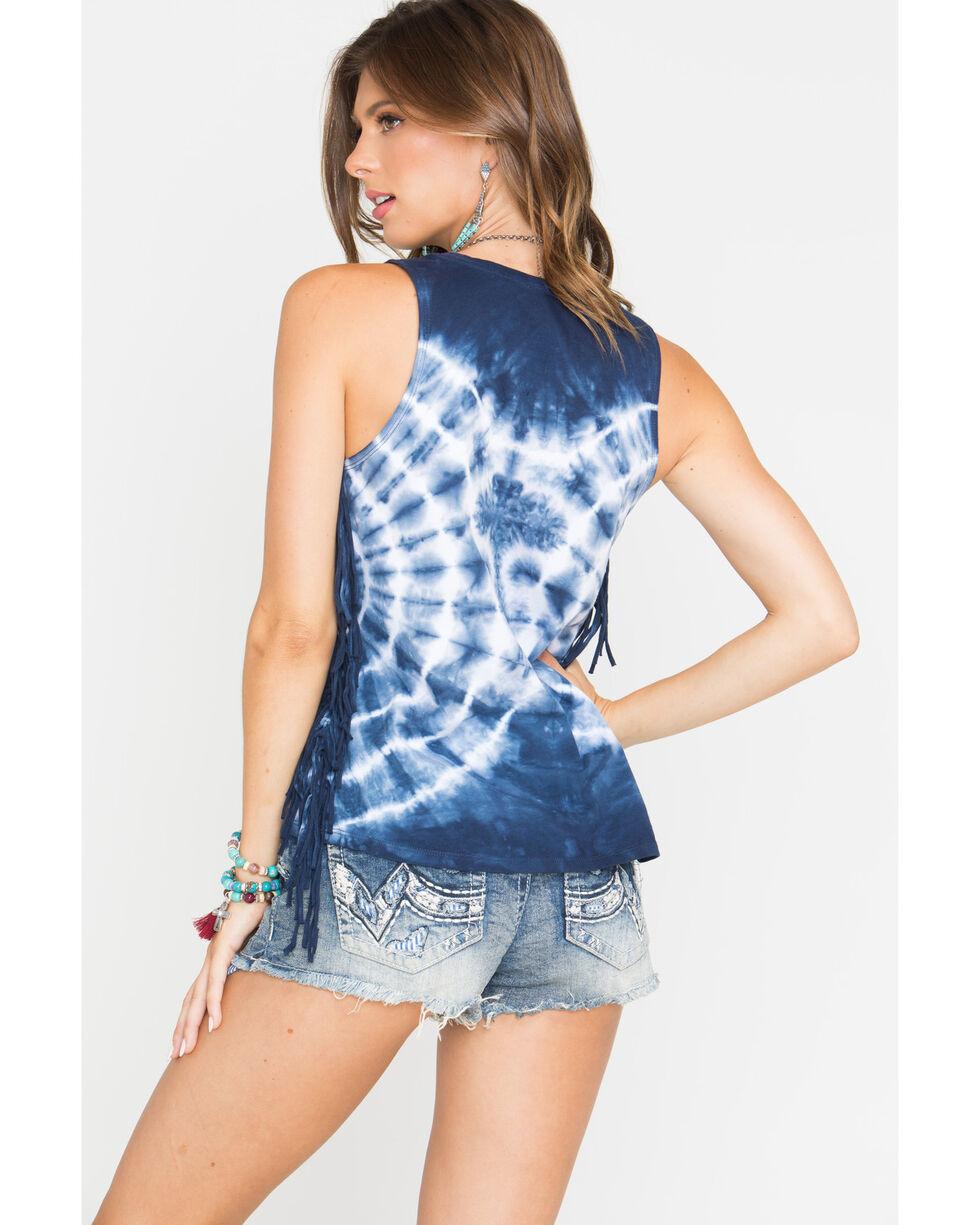 Shyanne Women's Tie Dye Fringe Tank Top, Blue, hi-res