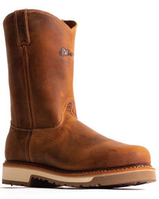 """Silverado Men's Tan 10"""" Western Work Boots - Steel Toe, Tan, hi-res"""