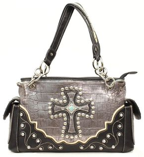 Blazin Roxx Croc Print Cross Satchel Bag, Silver, hi-res