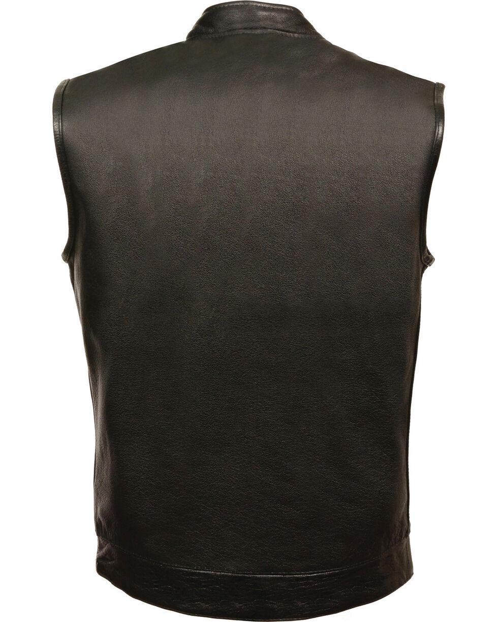 Milwaukee Leather Men's Black Open Neck Club Vest - 4X , Black, hi-res