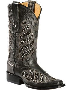Corral Crystal Inlay Cowgirl Boots - Square Toe, Black, hi-res