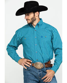 George Strait by Wrangler Men's Royal Blue Check Plaid Long Sleeve Western Shirt , Royal Blue, hi-res