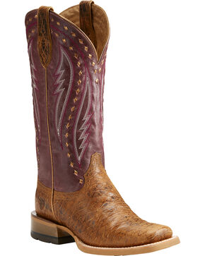 Ariat Women's Callahan Tan/Mulberry Cowgirl Boots - Square Toe, Tan, hi-res