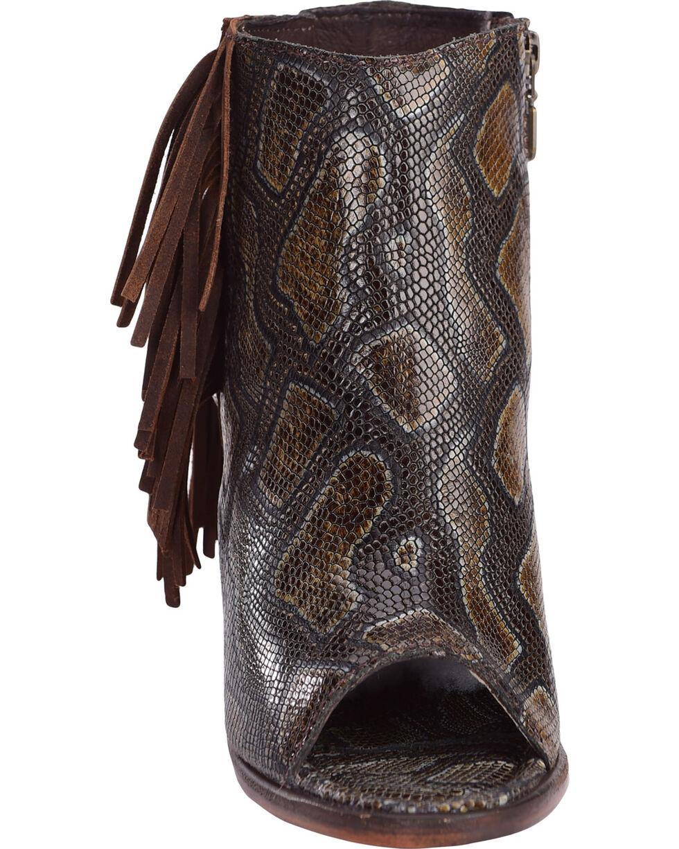 Liberty Black Women's Brenton Snake Print Booties , Dark Brown, hi-res