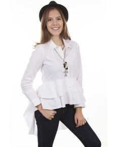 c593aded41e53f Honey Creek by Scully Womens White Hi-Low Layered Long Sleeve Blouse