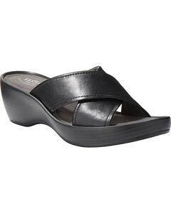 Eastland Women's Candice Crisscross Wedge Sandal , Black, hi-res