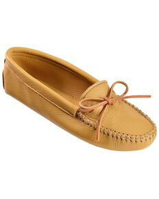 Women's Minnetonka Deerskin Softsole Moccasins, Natural, hi-res