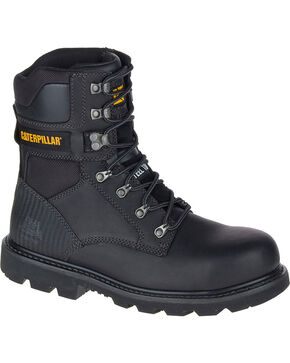 "Caterpillar Men's Black Indiana 8"" Work Boots - Steel Toe , Black, hi-res"