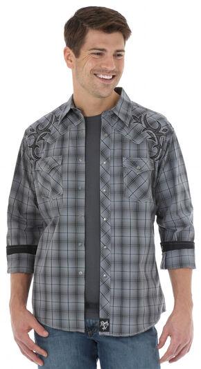 Wrangler Rock 47 Men's Grey Plaid Western Shirt , Grey, hi-res