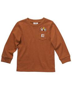Carhartt Boys' Crewneck Tool Pocket Long Sleeve Shirt, Brown, hi-res