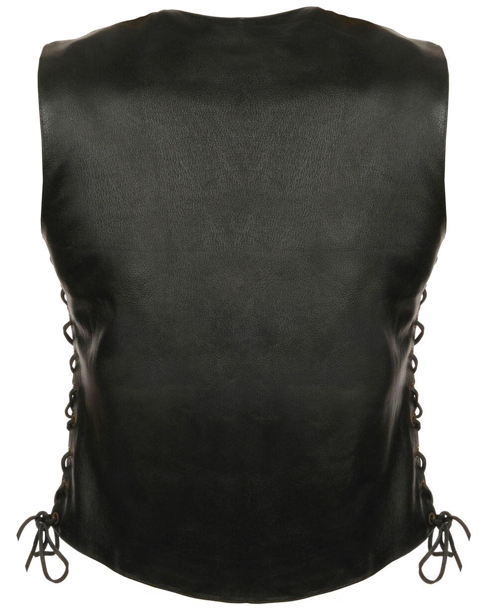 Milwaukee Leather Women's Side Lace Snap Front Vest - 5X, Black, hi-res