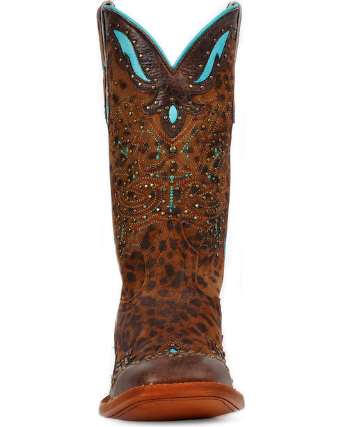 Cinch® Women's Cheetah & Turquoise Leather Inlay Cowgirl Boots - Square Toe, Cheetah, hi-res