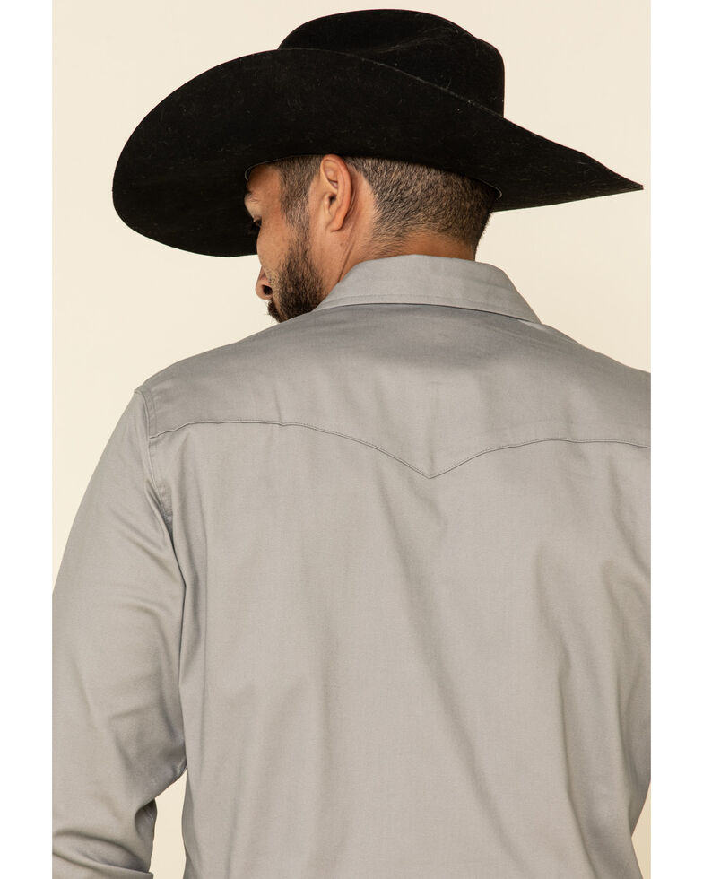 Wrangler Men's Solid Advanced Comfort Long Sleeve Work Shirt, Cement, hi-res