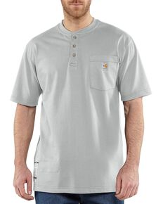 Carhartt Men's Grey FR Short Sleeve Henley Work Shirt - Big & Tall, Grey, hi-res