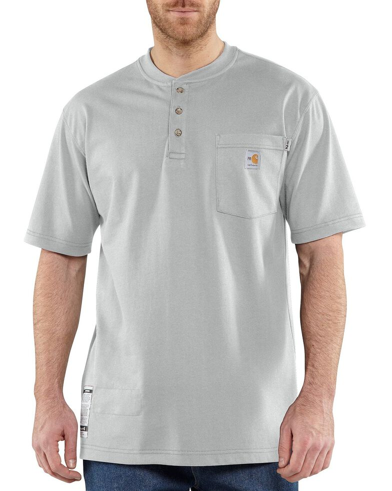 Carhartt Men's Grey FR Short Sleeve Henley Work Shirt - Big & Tall, Grey, hi-res