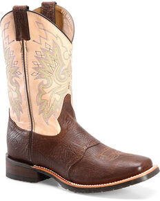 Double H Men's Brown Leather Cowboy Boots - Square Toe , Brown, hi-res