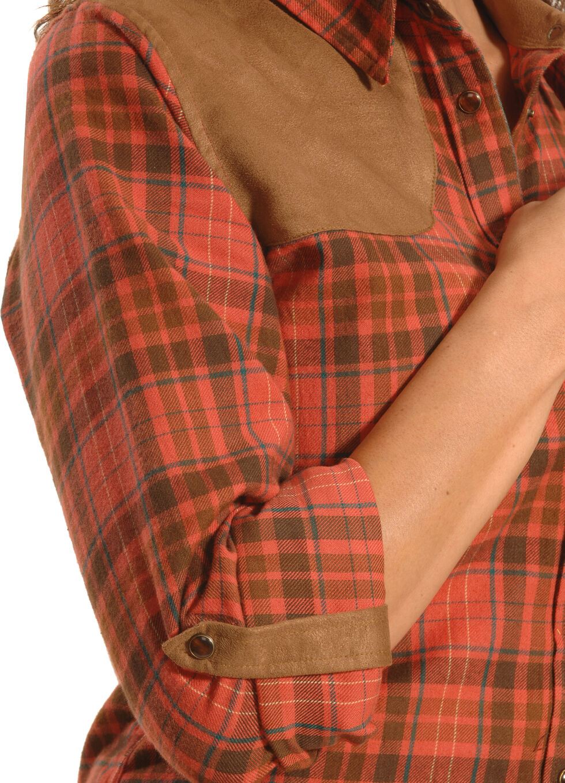 Tasha Polizzi Women's Red Clay Plaid Shooting Shirt , Red Plaid, hi-res