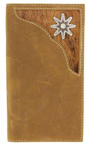 c213b8615a5fd Nocona Hair-on Hide Inlay   Rowel Concho Rodeo Wallet