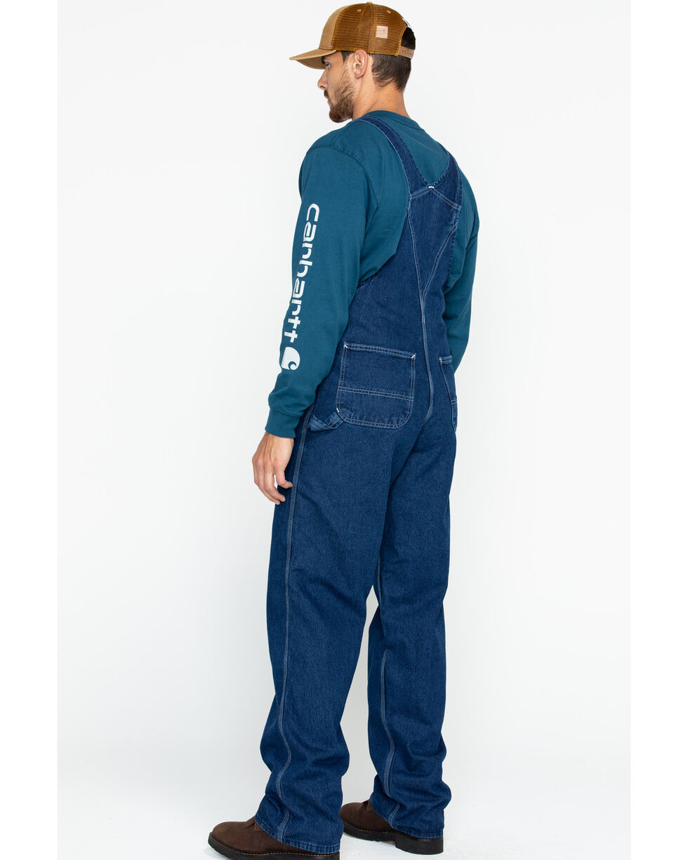 Carhartt Bib Washed Denim Work Overalls - Big & Tall, Blue, hi-res