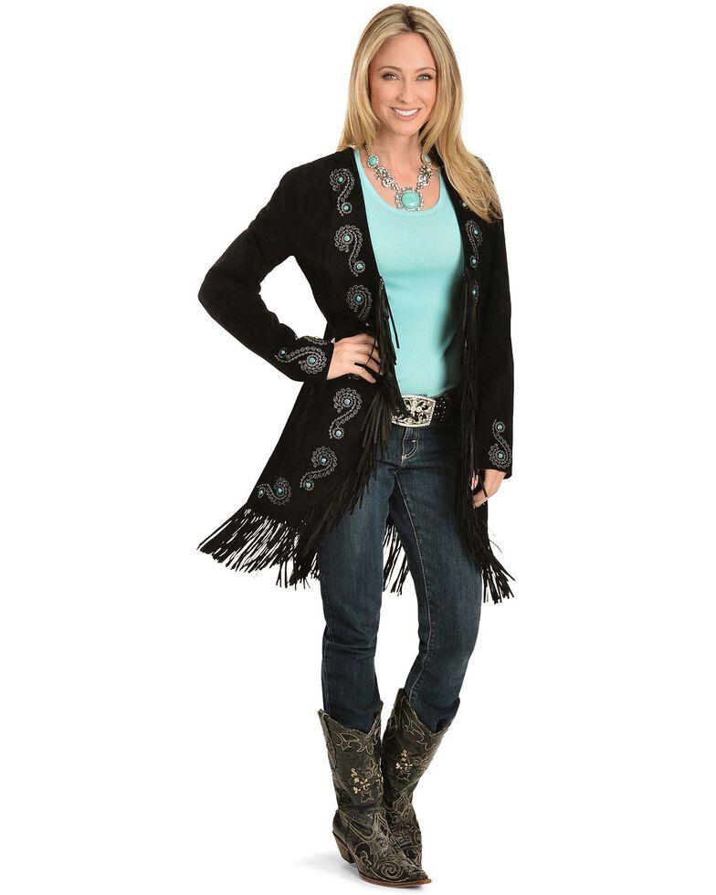 Scully Embroidered Fringe Long Suede Leather Jacket, Black, hi-res