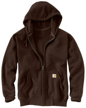 Carhartt Rain Defender Paxton Zip Front Hooded Sweatshirt - Big & Tall, Dark Brown, hi-res