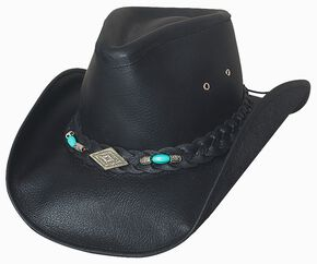 Bullhide Royston Leather Cowboy Hat, Black, hi-res