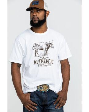 Cody James Men's Mustache Gallop Longhorn Graphic T-Shirt , White, hi-res