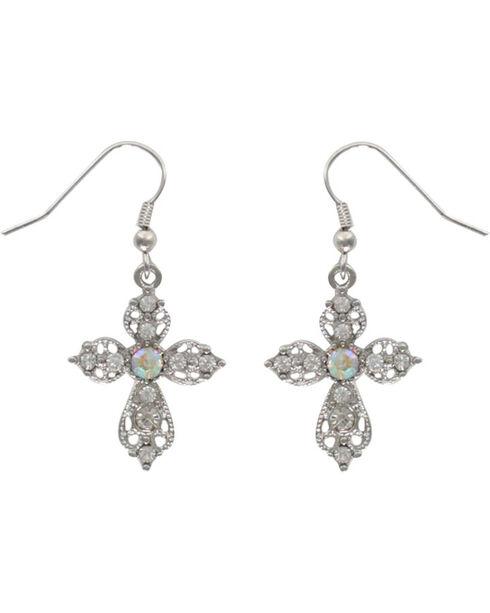 Shyanne Women's Victorian Cross Earrings, Silver, hi-res