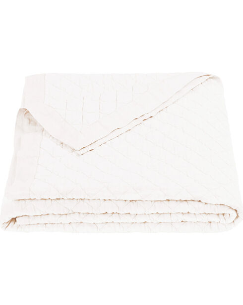 HiEnd Accents Diamond Pattern White Linen Full/Queen Quilt, White, hi-res